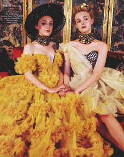 somethingvain:  alexander mcqueen s/s 2013, elle fanning and dakota fanning by bruce weber for vanity fair march 2013
