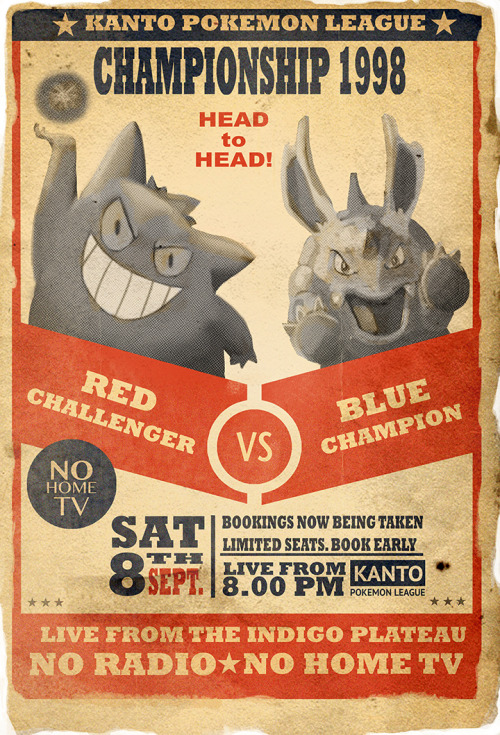 alternativepokemonart:  Vintage boxing-style poster of Pokemon Red & Blue opening —- Holly: Love it! I remember someone asking for a Gengar vs. Nidorino picture a few months ago, too..