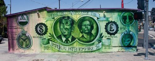 Ben Slow & Mear One -  'The United Snakes of The Imperialist Empire' (Los Angeles) Ben Slow and Mear One recently completed this new collaboration on the streets of Los Angeles, USA.Forging  together the UK and USA with the terrible twosome of Margaret Thatcher and Ronald Reagan, a very topical piece obviously with the resent passing of the Iron Lady.This was painted in just two days and is actually the first mural Mear One has ever painted with brush. If you stop by Los Angeles, you'll be able to find that piece on Sunset Junction in Silverlake, LA