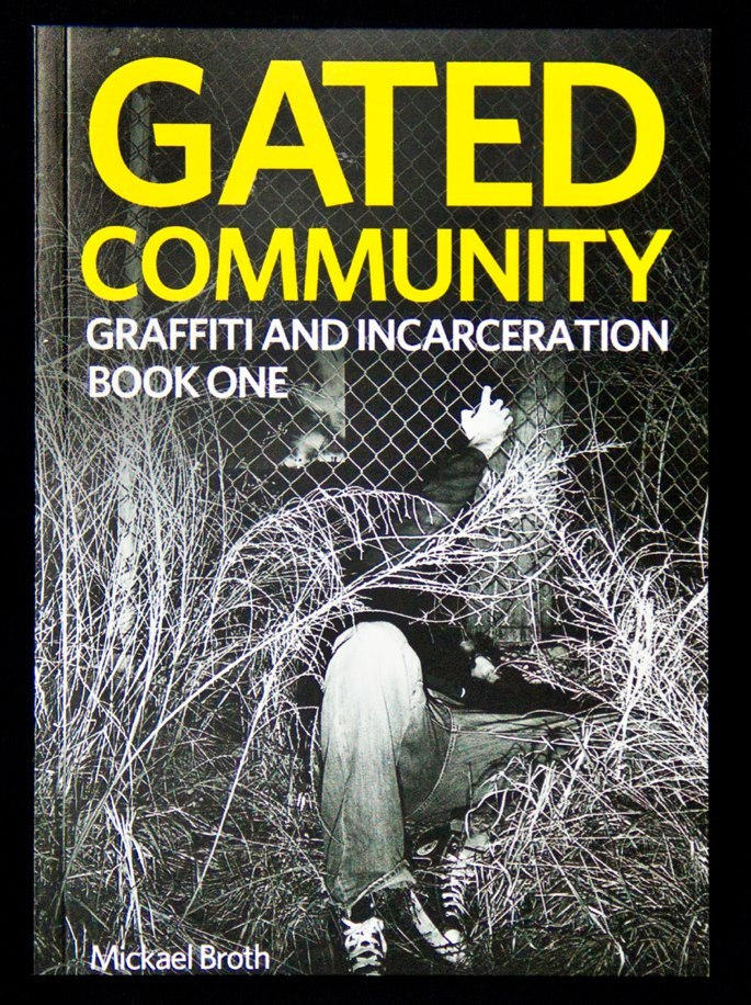 "Check it!  ""Gated Community is a book addressing graffiti and incarceration, specifically relating to the experience of former Richmond, Virginia based vandal, Mickael Broth. In 2004, he began serving ten months of a forty-eight month jail sentence. The book details many of his experiences both in jail and on the street, while also addressing how these topics are viewed by society at large. The book, part one of three, focuses on Mickael's crimes and arrest. It includes visuals from his work on the street, as well as legal documents."" http://gatedcommunity.bigcartel.com/"