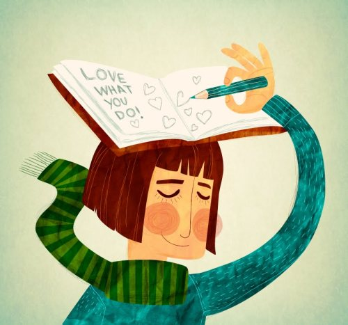 Love what you do! Read and write/ Ama lo que haces! Lee y escribe (ilustración de Ada Verkony)