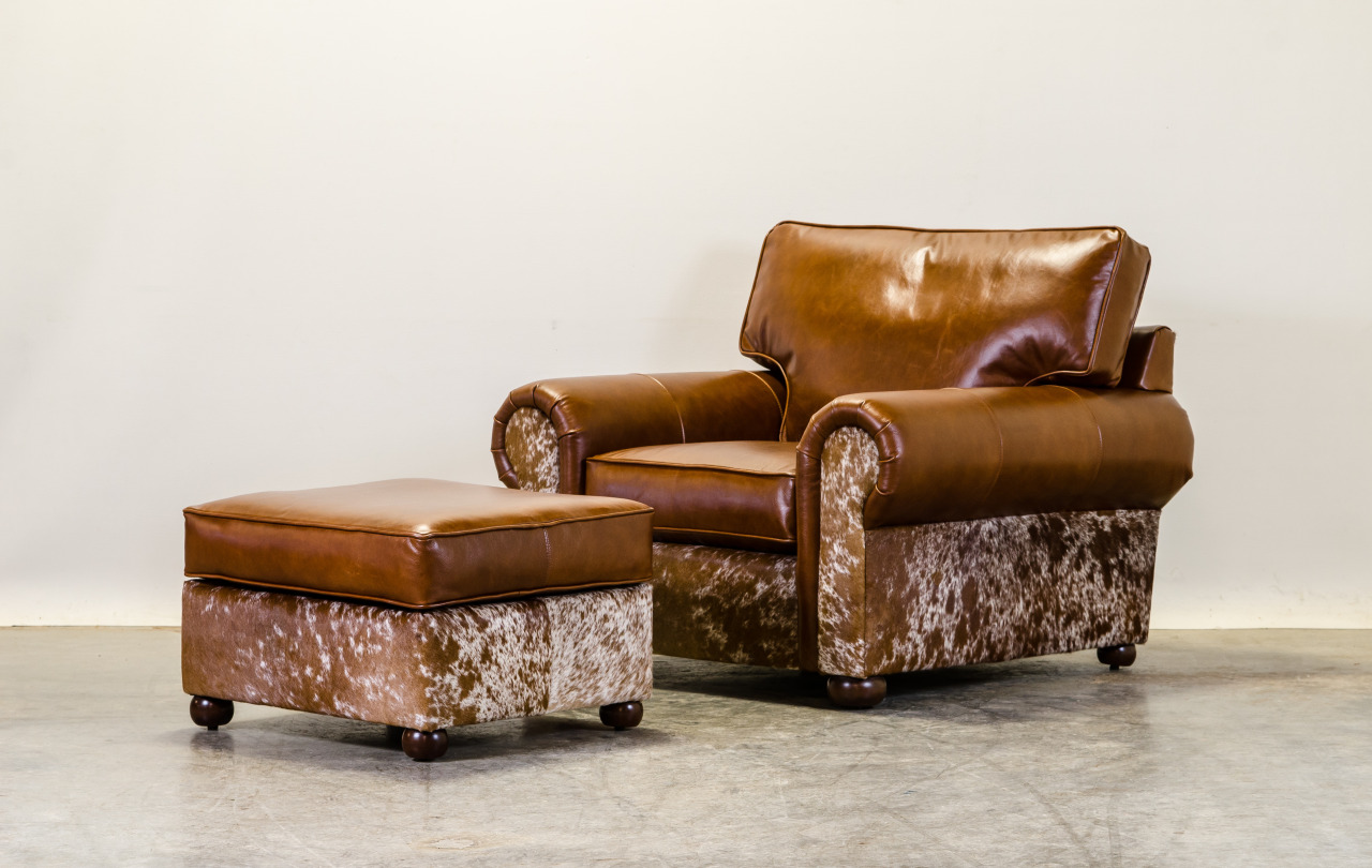 Our Lexington chair looks rather rugged in leather and hair on hide