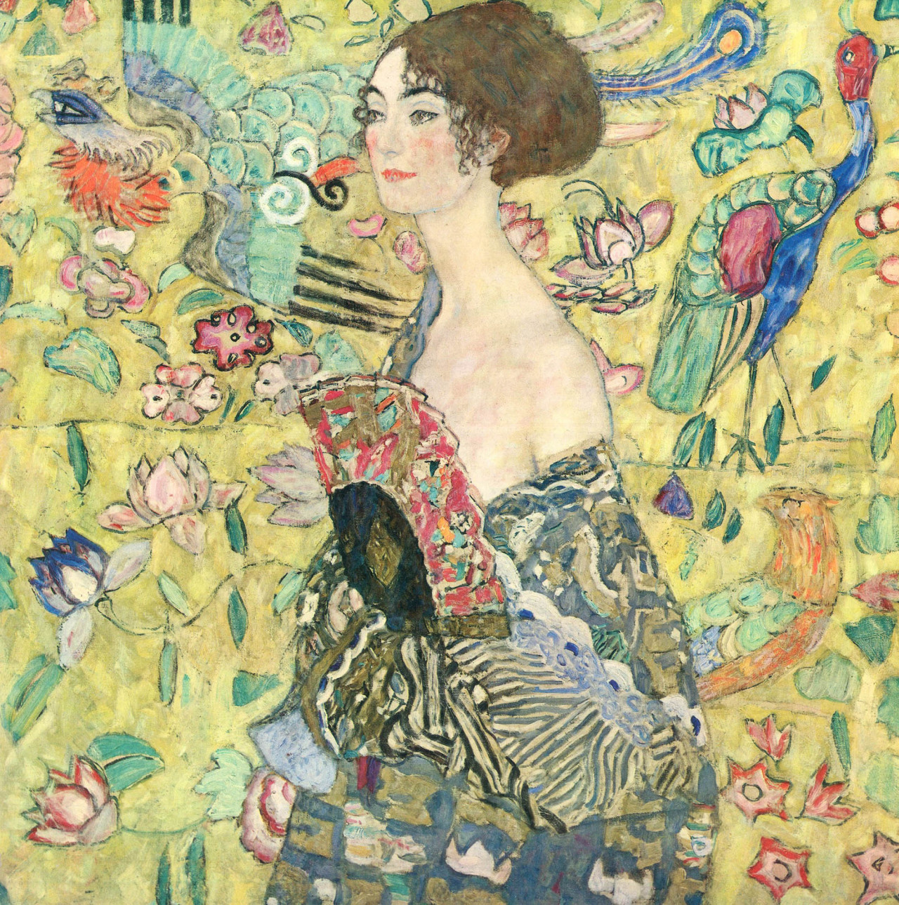 Gustav Klimt, Lady with Fan, 1918 oil on canvas, 39 3/8 × 39 3/8 inches Download Image Visit Source @ wikipaintings.org