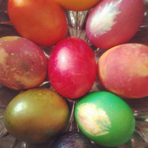 Easter egg coloring with my Ortodox grandma today!
