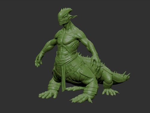 Lizard Centaur i have been working on, in the final stage of sculpting going to be backing down the normal, cavity, AO here next. going to go back and work on the leather armor and the cloth (make it less silk like and more of a thinker fabric) also got a little bit more to do on the head .