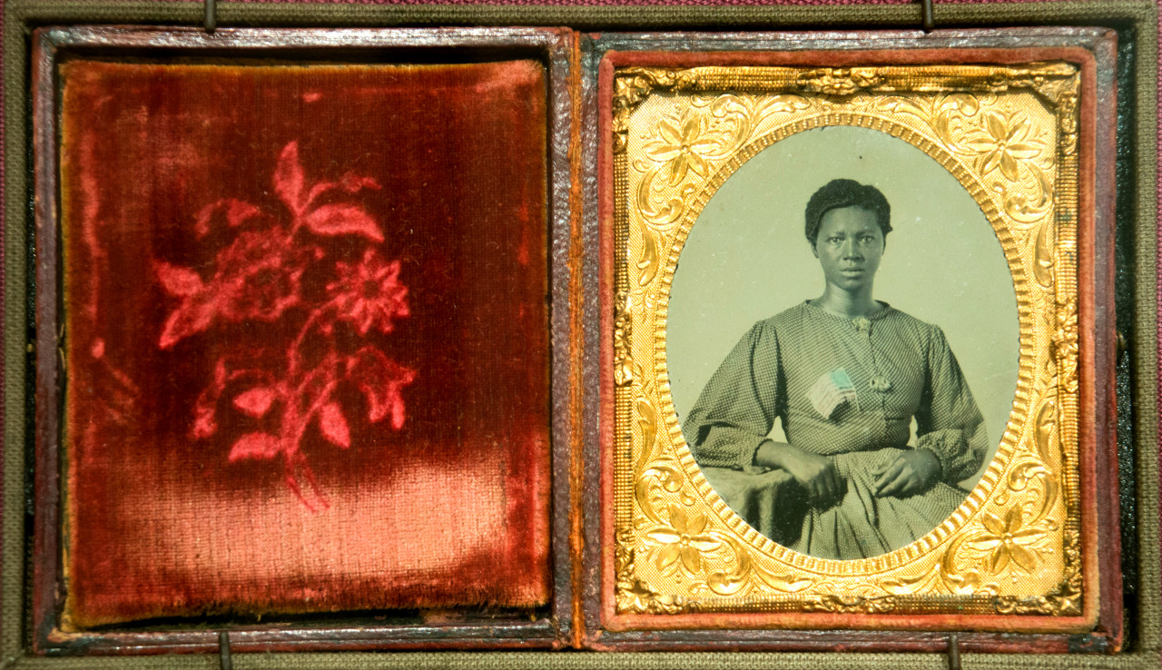 "Civil War Washerwoman Ambrotype An ambrotype of a washerwoman for the Union Army in Richmond from about 1865, part of the photo exhibition to commemorate the 150th anniversary of the Civil War, ""Experience Civil War Photography: From the Home Front to the Battlefront,"" on display in the Smithsonian Castle in Washington, D.C. Photo: Brian Ireley, Smithsonian http://newsdesk.si.edu/search/luceneapi_node/Exhibitions%20at%20the%20Castle"