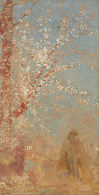 Odilon Redon Figure under a blossoming tree / 1904 - 1905
