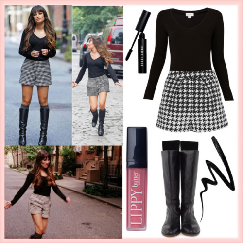 Glee - Rachel Berry Makeover by celineegee featuring knee hi socksWitchery , $41 / Topshop  / Barneys New York knee hi socks / Gidigio real leather boots, $360 / Smashbox waterproof eye liner / Bobbi Brown Cosmetics , $27 / Butter London , $21
