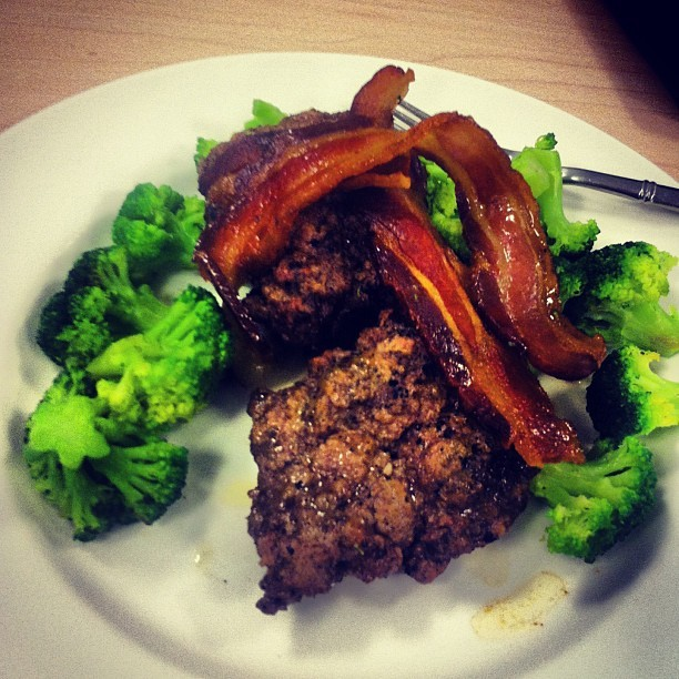 #grassfed beef, pastured #bacon and broccoli. #eatclean