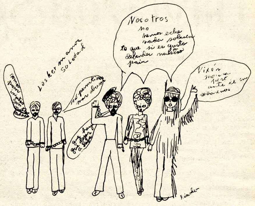 "Drawing of American political prisoners by Ricardo, age 11  The captions have two of the Soledad Brothers saying, ""We are prisoners, our chains are unjust,"" and ""We won't allow further abuses,"" while the other three (Bobby, Angela and an Indian) remark, ""We haven't done anything except what is just to defend our homeland,"" and Bobby adds, ""Get out of Laos,"" as the Indian sister observes, ""Nixon will die, but first we'll teach him."" — The Children of Che: A Day in a Cuban School by Karen Wald"