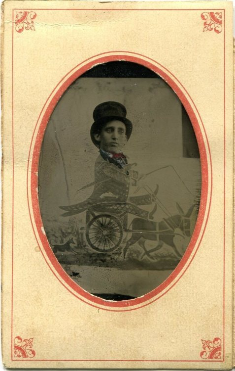 "ca. 1860-70's, [tintype comic, ""funny-gram"", of a man riding a mule cart] via Ebay"