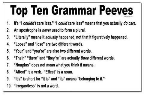 bayamontate:  linkbleacherz15:  Just a few of the vast majority of grammar errors on the Internet  Tell my old boss that Irregardless is not a word; In Tennessee it is:)  I never corrected him until my last day at work. My current boss will write 'Marquis', when he is meaning 'Marquee'; as in major clients.  A good dictionary would disabuse whoever put this list together of the notion that #3 is always correct (literally is an intensifier with a clear lineage of non-literal usage for the last 200 years) and that #8 is at all correct (both affect and effect are verbs and nouns, but I know what you thought you were saying). Also, who's to say that I don't know what nonplus means? I'm pretty sure I do. All I can say is that I'm glad yahoo is going to come in and clean up this kind of thing.