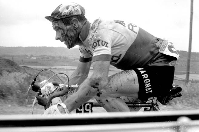 French cyclist Joseph Thomin bleeds after a spill during the 1962 Tour.