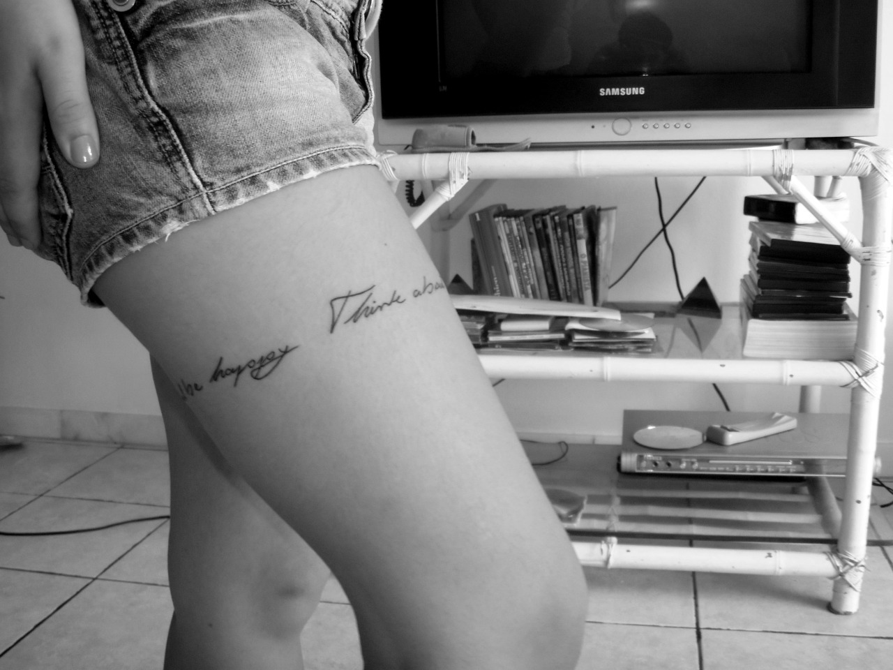 "my new tattoo. ""think about all the beauty still left around you and be happy"", by anne frank"