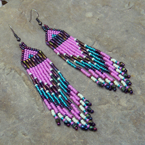 Pink, purple and emerald seed bead earrings - dangle long earrings https://www.etsy.com/listing/151249326/pink-purple-and-emerald-seed-bead