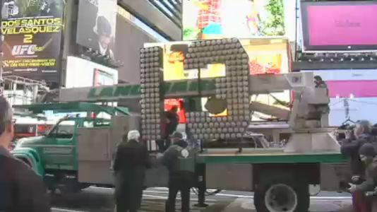 "bobbycaputo:  Giant Electric ""13"" Arrives In Times Square For New Year's Eve  Suspicious New Yorkers may want to avoid Times Square, as a flatbed truck delivered on Wednesday a giant number ""13"" for the area's New Year's Eve sign.  The seven-feet tall ""2013"" sign will light up atop One Times Square to announce the new year, once the iconic New Year's ball drops. The number includes 32,000 high-power LEDs. They use only 9 watts each, compared to the 40 watts that the previous halogen bulbs used. Thirteen multicultural good-luck charms were included with the delivery to guard against any bad luck. The charms and the number will be on display at the Times Square Museum and Visitor Center through next Wednesday."