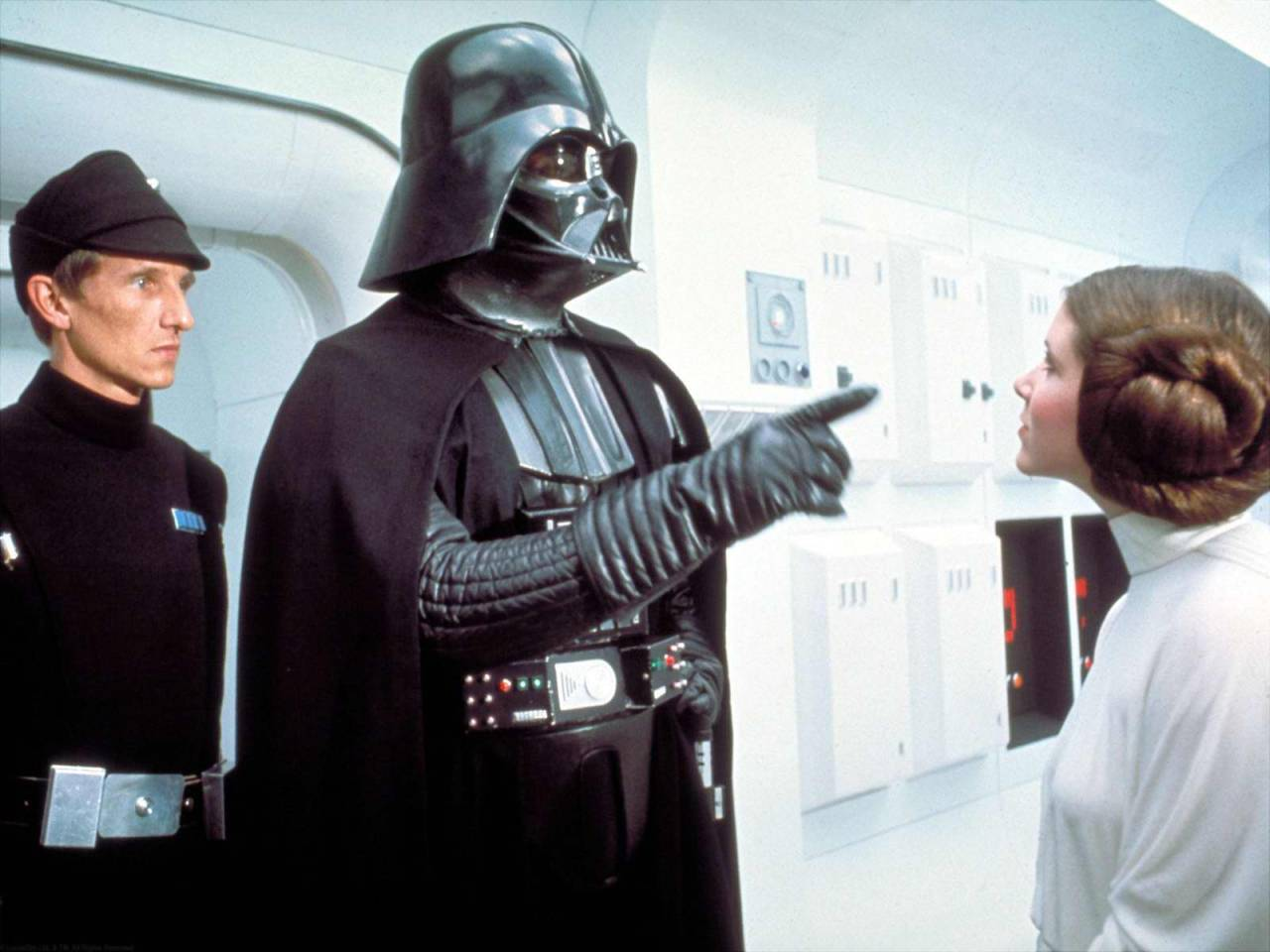 Princess Leia: Darth Vader. Only you could be so bold. The Imperial Senate will not sit still for this. When they hear you've attacked a diplomatic… Darth Vader: Don't act so surprised, Your Highness. You weren't on any mercy mission this time. Several transmissions were beamed to this ship by rebel spies. I want to know what happened to the plans they sent you. Princess Leia: I don't know what you're talking about. I am a member of the Imperial Senate on a diplomatic mission to Alderaan… Darth Vader: You are part of the Rebel Alliance and a traitor! Take her away!