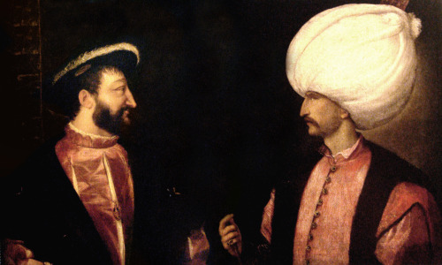 "gloriavictoria:  dowland:  Francis I and Suleiman the Magnificient Titian (1490–1576)  This is Suleiman—the very same from ACR—and King Francis I, the king who Leonardo da Vinci worked for until his death in 1519. I can't help but imagine that Suleiman, after hearing about Leonardo's deteriorating health, sent Ezio a letter telling him to GET HIS ASS TO FRANCE and STOP BEING SUCH A FUCKING DUNCE. Ezio, realizing his folly about THIRTY YEARS TOO LATE, ends up being in France with his best friend before he dies, realizing how much of an ass he is. THERE'S a ""revelation"" for you."