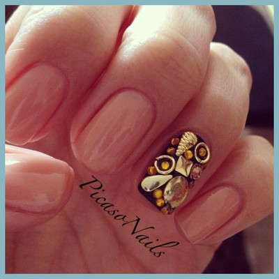 Rp of my client #manicure #nails #nailart #gems #gold #fun #girls #potd #art #moma #la #nyc #brooklyn #spring #summer #fashion