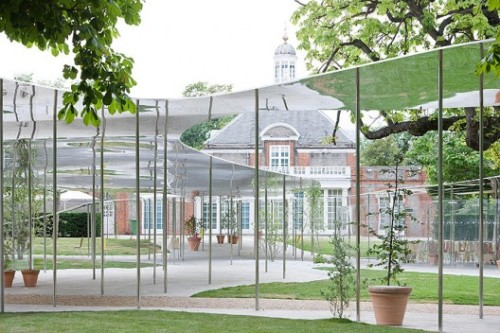 citylifechange23:    Serpentine Gallery Pavillion (2009), London, England, SANAA     o   Undulating aluminum sits on column structure o   Temporary structure o   Creates a series of connected spaces through out the park
