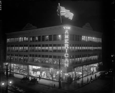 Denver sometime in February 1921:   Lights at the American Furniture Company at 16th and Lawrence in downtown. Yes, this eventually became that American Furniture Company. The Tabor Center sits here now.  (Photo via Denver Public Library Western History Collection)