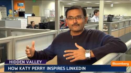 "Video: Katy Perry inspired LinkedIn's redesign? Pictured above is LinkedIn Senior VP of Product Deep Nishar. He loves Katy Perry. So much so that the team used her to inspire the sites' recent redisign, aka the ""Katyfication"" of LinkedIn.  WATCH HERE"