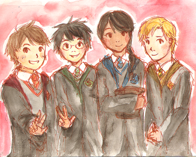epsilonnn:  fanart of the fanfic laocoon's children: neville, harry, padma, draco interhouse friendships♥♥♥
