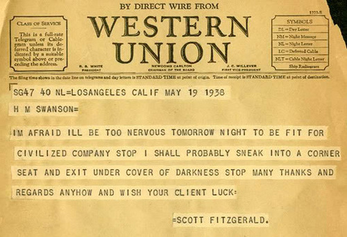 Telegram from F. Scott Fitzgerald to H.M. Swanson - May 19th, 1938