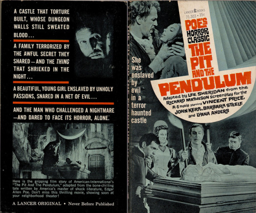 The Pit and the Pendulum(1963) Paperback movie novelization