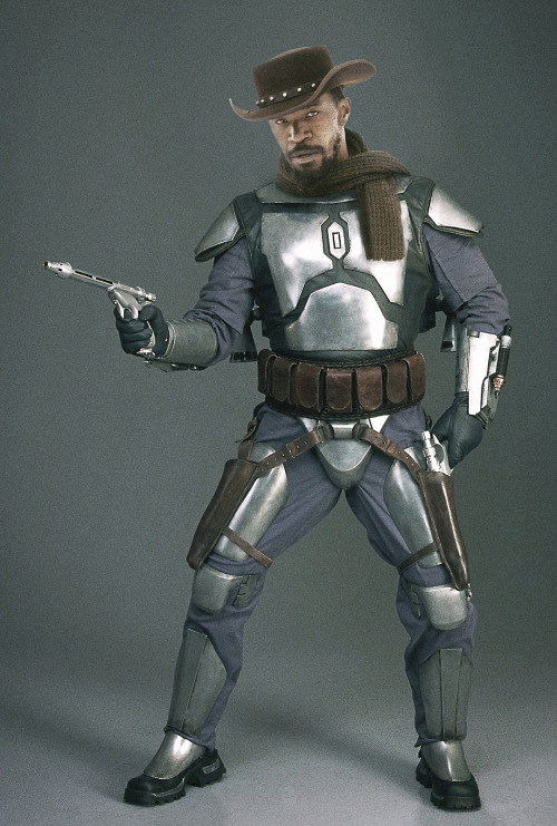 Django Fett, A Photoshopped Image Mixing Star Wars & Django Unchained This awesome photo manipulation created by Florida artist Gordon Tarpley of GT Props mixes together both the Star Wars bounty hunter Jango Fett with Django Freeman, a character played by Jamie Foxx in Quentin Tarantino's western film Django Unchained. Django Fett by Gordon Tarpley (Flickr) (Facebook) (Twitter)