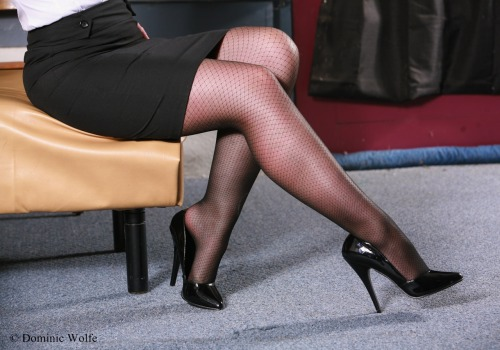 Faux fishnet hosiery, legs and high heels - photo by Dominic Wolfe