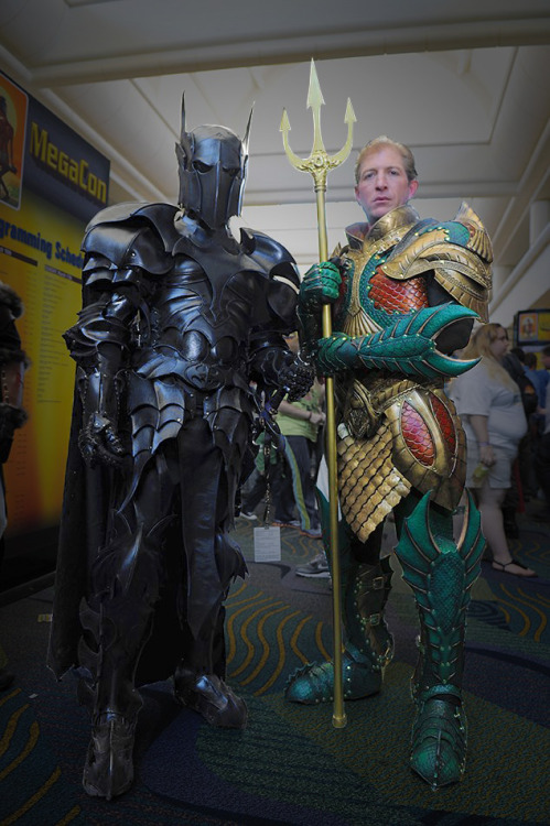 timetravelandrocketpoweredapes:  Medieval Batman and Aquaman Cosplay Armor by Samuel Lee  So Sauron is Batman? After Batman R.I.P. this actually makes sense. Bad day + urge to help + weapons grade pipe weeds + time travel + backup personalities = Batromancer/Batman as Sauron