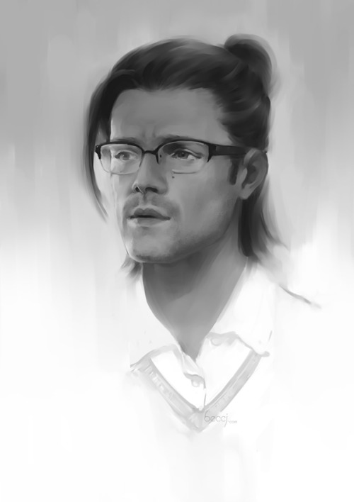 petite-madame:  beccj:  Man of letter Sam Winchester…basically just an excuse to put his hair in a ponytail and give him those cute glasses - both at the same time!! :D  Wow! He's beautiful!  (-^〇^-)