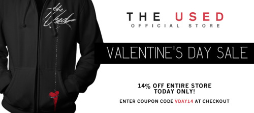 We just made your Valentine's Day a whole lot better - take 14% off of your entire purchase at our online store TODAY only! Click the following link and use the coupon code VDAY14 at checkout: http://bit.ly/12OkZsx