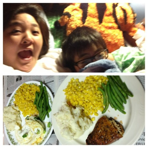 @woah_net Homemade dinner for two. 😝👍😇😄#mashedpotatoes #greenbeans #turkeygravy #corn #salmon  so this booger right here is sooo attached to her stitch and tigger …😑😒😑😒😒😣…