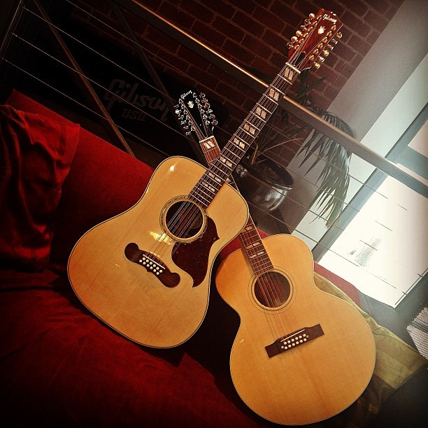 Cozy up on the couch with THESE beauties!! - @gibsonguitar  (at Gibson Showroom)