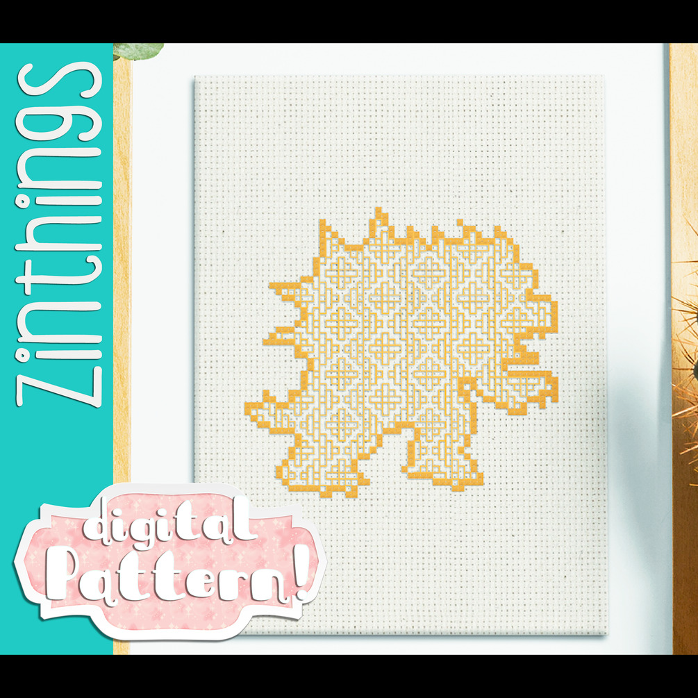 Hail to the King/Bowser Blackwork designed by zinthings. [Super Mario] #cross stitch#pattern#x