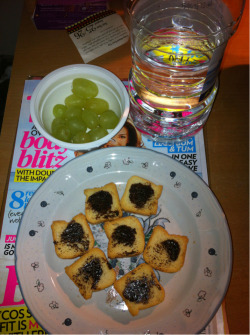 Snack :)) green grapes, vegimite mini toast and H2O :)
