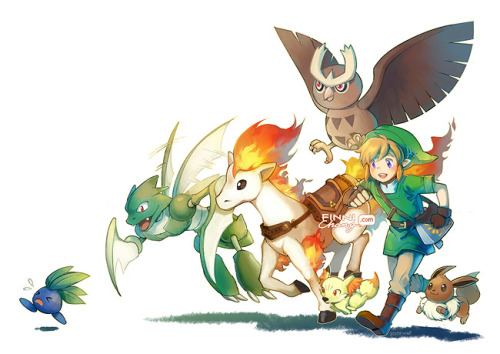 finnichang:  Legend of Zelda x Pokemon!! Link is a new trainer who hopes to defeat the Champion Ganondorf. With the help of his childhood friend Zelda at his side, will he be victorious…?? I've been working on these pieces slowly on and off for so many weeks now while experimenting with new painting processes, so I'm happy to see them completed after all this time! I streamed the process on all of these so I hope some of you were able to catch some of it. I learned a lot through finishing these so I just wanted to say thanks to everyone who has left such enthusiastic comments! <3 By popular request — prints available here!