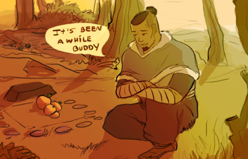 thedisneytruth:  nukilik-fandom:  Headcanon - At times Sokka would go to the place Momo was burried and leave a few fruits, especially peaches, the same thing Momo had brough him the day they met. Just because that was the beggining of their friendship and earned him his name (since Momo means peach). I loved how Sokka and momo became close throughout the series. It's adorable.