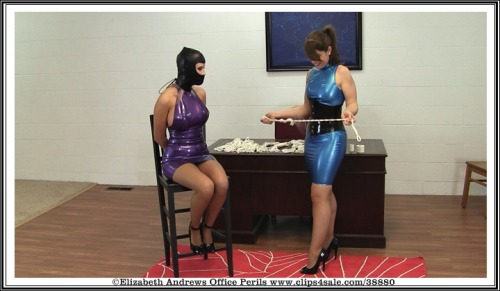 Holly Wood and myself take over Mr. Big Boss's Office to have some latex bondage fun - www.clips4sale.com/38880/8427993 - Holly Wood & Elizabeth Andrews - DayDreaming About Latex Playtime