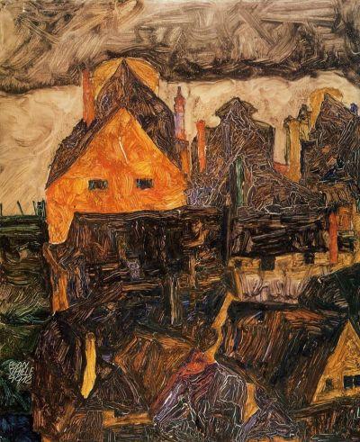 alongtimealone:  Egon Schiele - Krumau an der Moldau, Krumau on the Molde - 1912. Place of Creation: Czech Republic.