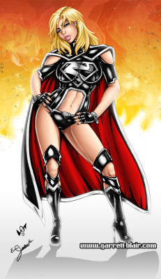 Garret Blair's illustration of Evil Supergirl in the new DC 52.  I did the coloring on this one.