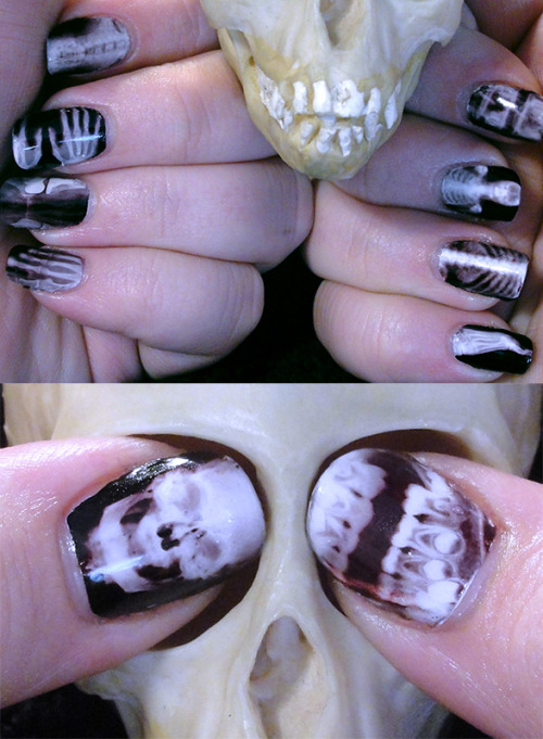 nailgasm:  I finally got my hands on some tattoo paper! So… X-Ray nails!  I used Cult Nails' Tempest as a base. (Excellent basic white)  I'll be posting a tutorial, info, and some other stuff about using temporary tattoos for nails soon!  X ray nails