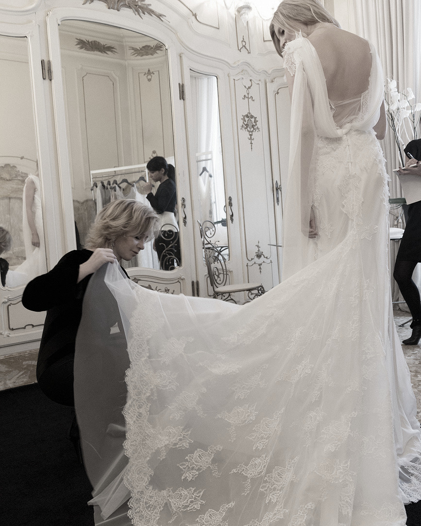 Candice Lake having her wedding dress fitted by Alberta Ferretti photographed by Stefano Moro Van Wyk