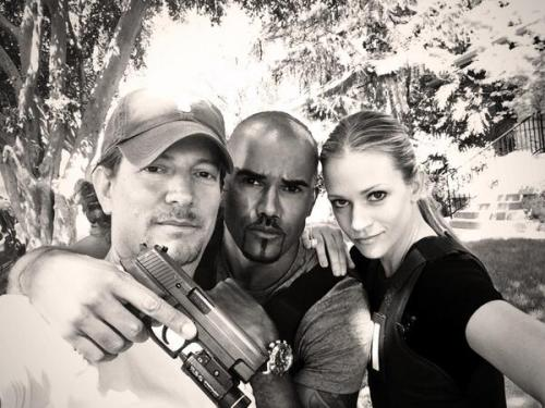 criminalmindsfeed:    @dougaa: @shemarmoore @ajcookofficial making hard work fun @criminalminds - gracias.