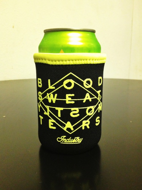 industryprintshop:  New INDUSTRY koozie prototype! Who wants one!!!???!!!  We Do!