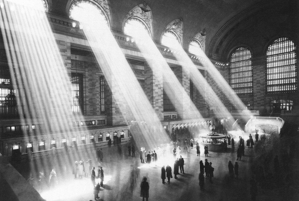 From Grand Central Terminal Turns 100, one of 38 photos. Here, sunlight streams through the windows in the concourse at Grand Central Terminal in New York City in 1954. (AP Photo)