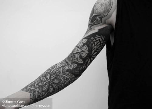 By Jimmy Yuen, done in Hong Kong. http://ttoo.co/p/35709 abstract;big;blackwork;facebook;jimmyyuen;mandala;sacred geometry;sleeve;of sacred geometry shapes;twitter