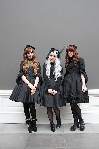 Gothic Lolitas at the February Belgian Cupcakes Lolita fashion meet.  MSK Ghent - Belgium - 24.2.2013
